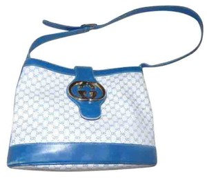 Gucci Bold Gold Accents Bucket Rare Unique High-end Bohemian Britt Blondie Style Satchel in blue and white