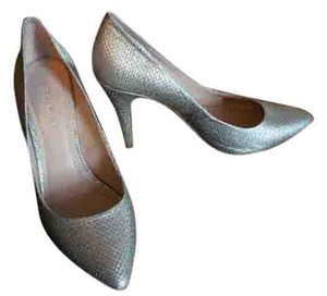 BCBGeneration Basket-weave Rare Novel Uncommon Silver Pumps