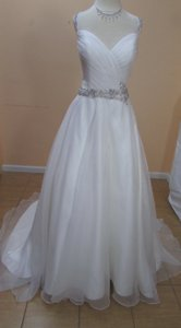 DaVinci Bridal Ivory Organza 50311 Formal Wedding Dress Size 10 (M)