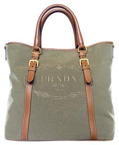 Prada Corda Canvas Tote in Brown
