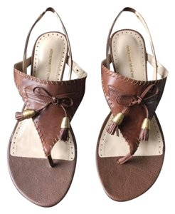 Adrienne Vittadini Thong Sandal Topstitched Milk Chocolate Flats