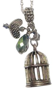 Other New Bird Cage Pendant Charm Necklace Silver Tone J2737
