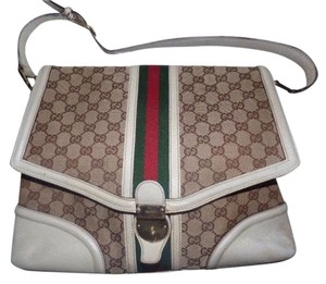 Gucci Equestrian Accents Large G Logo Print Extra Large Size Wide Stripe Satchel in white/brown w/ red/green