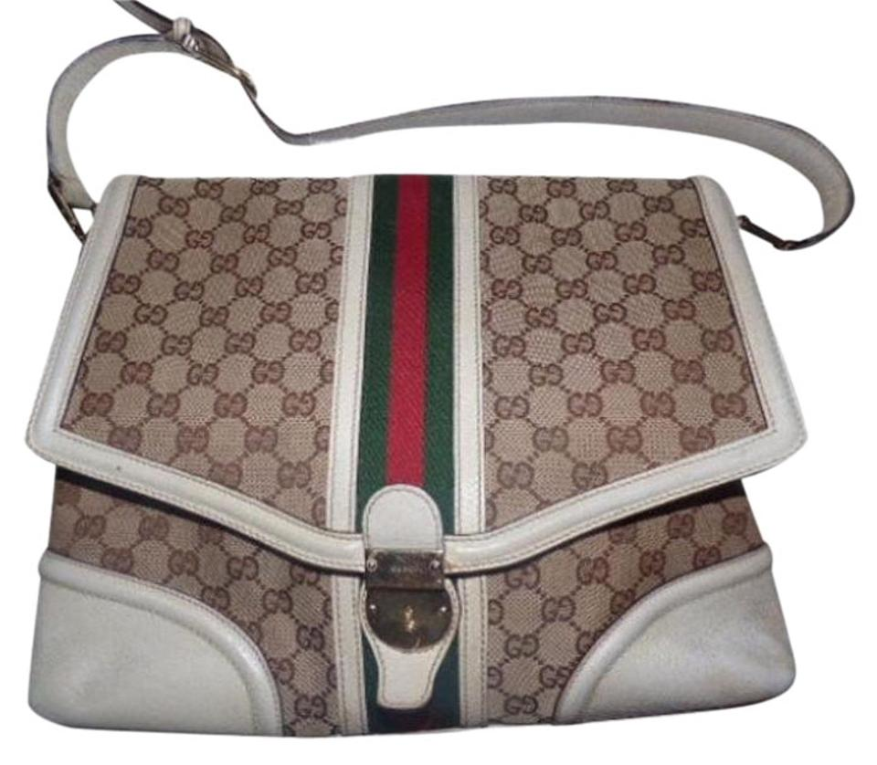 ab3dca3d7595 Gucci Equestrian Accents Large G Logo Print Extra Large Size Wide Stripe    Satchel in white ...