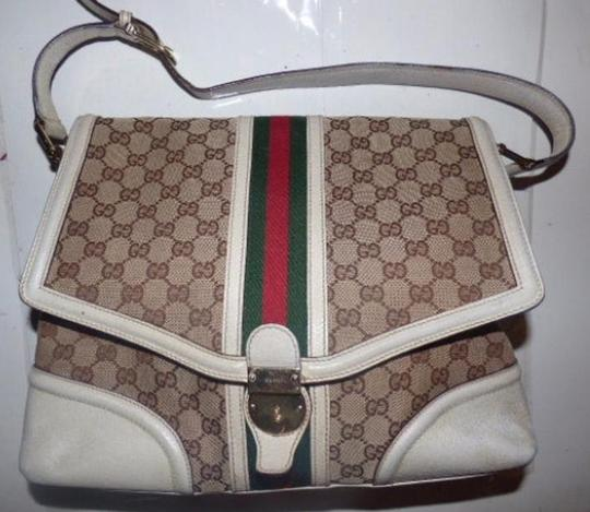 Gucci Equestrian Accents Large G Logo Print Extra Large Size Wide Stripe & Satchel in white and brown with red and green