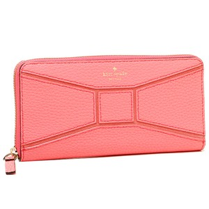 Kate Spade Pebbled Leather Bow Tie Neda Accordion Zip Wallet Flamingo