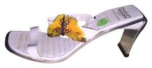 Charles Jourdan Feather Metal Sole White Sandals
