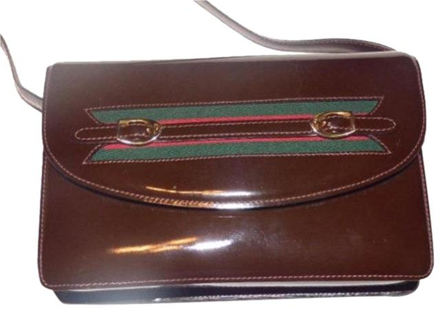 Item - Horsebit Envelope Top Sherry Stripe Two Way Brown with Red and Green Patent Leather Shoulder Bag