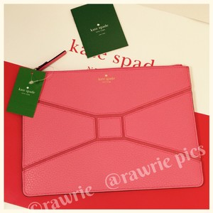 Kate Spade Pebbled Leather Bow Tie Large Clutch Pouch Flamingo