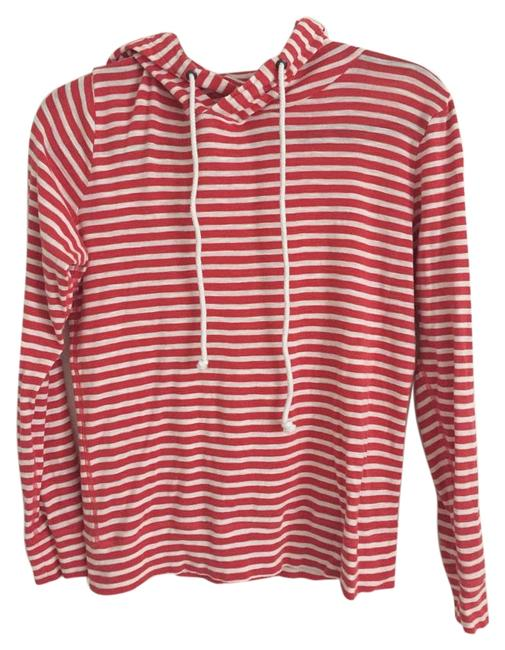 Item - Coral/White Striped Lightweight Pullover Sweatshirt/Hoodie Size 4 (S)
