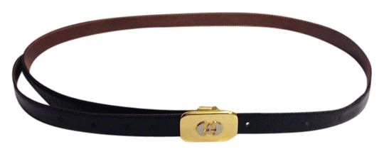 Gucci Vintage GUCCI Black lizard embossed leather Unisex Belt w Gold Logo Buckle
