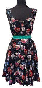 Moulinette Soeurs short dress Floral on black background Anthropologie Size 8 on Tradesy