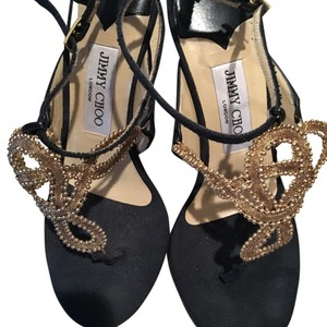 Jimmy Choo Black and gold Sandals