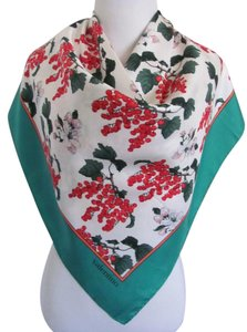 Valentino Wow! Green White Floral Large Silk Scarf // 34