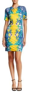 Bacci short dress Yellow Floral Floral Yellow Cowl Neck on Tradesy