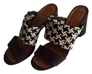 Chie Mihara Black/ tan check with brown foot strap Sandals