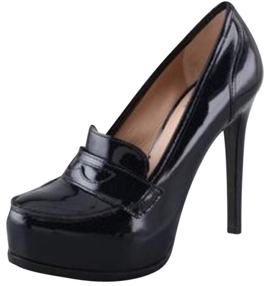 Pour La Victoire Black Loafers Patent Leather Larkin Heeled Loafers Black In Midnight Platforms 80604f