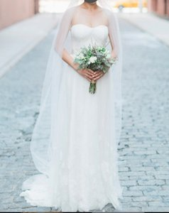 Romantic French Chantilly Lace Strapless Gown Wedding Dress