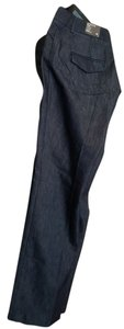 Express Low Rise Straight Editor Flare Pants denim deep dark blue
