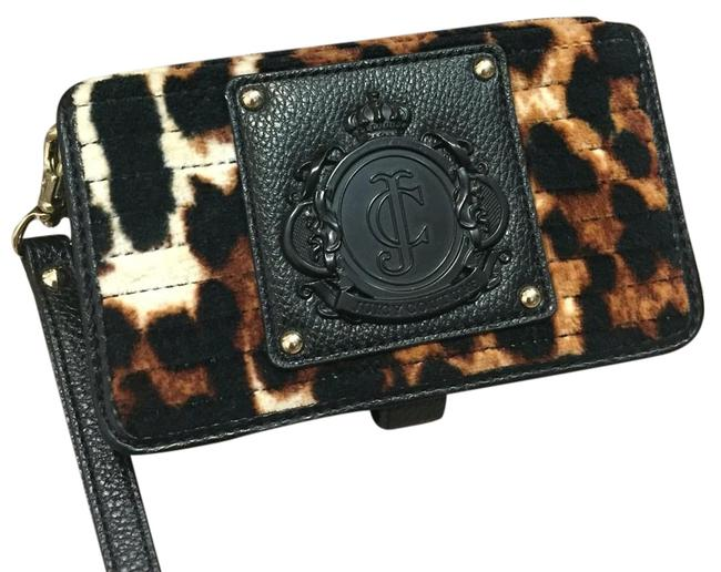 Item - Leopard Flannel Leather Wristlet Brown and Black Clutch