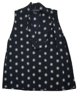 Ellen Tracy 94% Silk 6% Spandex Sleeveless Cowl-neck Pull-over Polka Dots Msrp: Top Navy / White