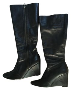 Matisse Knee-high Leather Wedge Heel Black Boots
