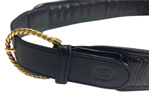 Gucci Vintage GUCCI Black LIZARD embossed Leather Belt w Gold tone Buckle