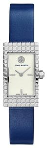 Tory Burch NWT TORY BURCH Buddy Signature Silver Tone NAVY Leather Watch TRB2002 ($350+TAX)