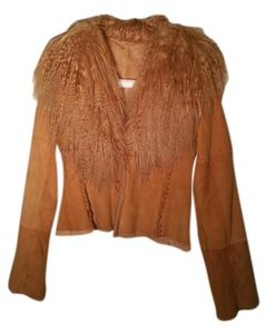 Mongolian Fur Collar Buckskin Tan Leather Jacket