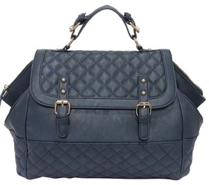 Other Quilted Faux Vegan Satchel in Navy