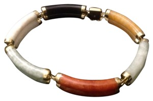 14k GOLD MULTI COLOR JADE BRACELET