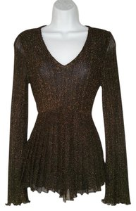 Alberto Makali Metallic Pleated Top Black