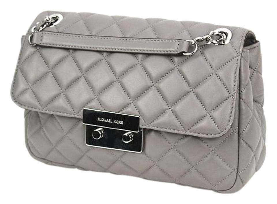 73a42c657184 Michael Kors Sloan Large Quilted Chain Shoulder - Steel Grey Leather ...