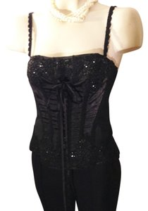 Sue Wong Beaded Embroidered Lace Up Evening Camisole Top Black