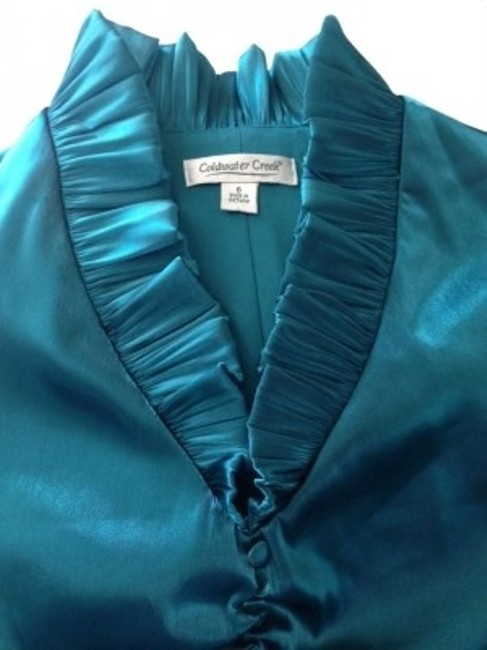 Preload https://item5.tradesy.com/images/coldwater-creek-teal-shiny-blouse-size-6-s-172754-0-0.jpg?width=400&height=650