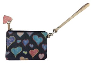 Dooney & Bourke Leather Key Chain Wristlet in Black and multi color