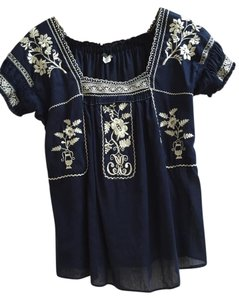 J.Crew Embroidered Two-tone Casual Top Navy