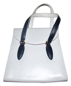 Salvatore Ferragamo Leather Navy Black Accents 1960's Mod Satchel in White and Midnight Blue