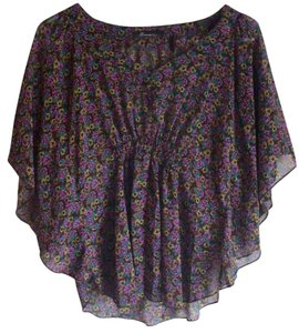 Forever 21 Chiffon Trendy Boho Print Top Purple