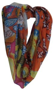 Rikka Orange Blue Pink Floral Lightweight Infinity Loop Scarf