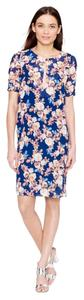 J.Crew short dress Antique Floral Blue Silk on Tradesy