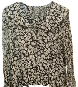 Liz Claiborne Button Down Shirt Black, white