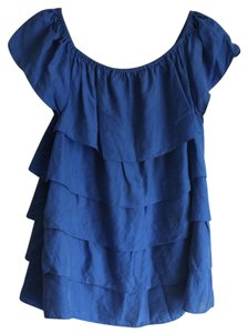 Moda International Silk Tank Off The Shoulder Top Blue