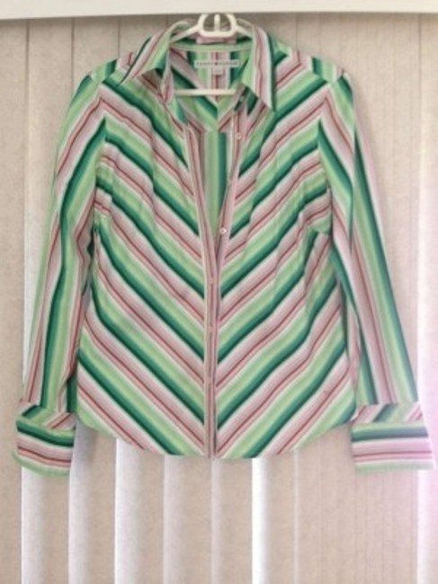 Tommy Hilfiger Button Down Shirt Multi Green Stripe