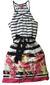 Elle short dress Black White Pink Summer Stripes on Tradesy