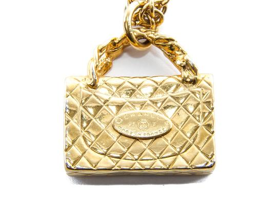 Chanel Vintage Metalasse Bag Motif Gold Necklace with Box