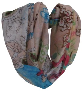 Rikka Blue Pink Brown Floral Lightweight Infinity Loop Scarf