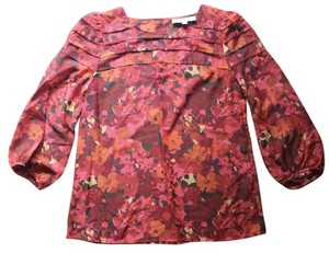 Ann Taylor LOFT Linen Floral Top Multi-Color