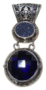 Lori Bonn Lori Bonn Sterling Silver, Sapphire Blue and Druzy Pendant Enhancer