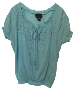 Cynthia Rowley Anthropologie Lightweight Cotton Small Peasant Top Aqua blue